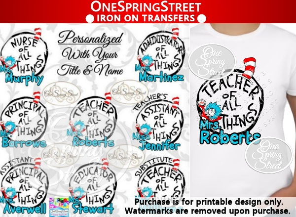 Dr Seuss Teacher Of All Things Personalized-Teacher of all things, Dr. Seuss Day, thing 1, thing 2, printed,shipped, Teacher gift, Elementary, Of all things,clip art, first grade, second grade, third grade, kindergarten, school, teachers appreciation, pta, Image, Clipart, Doctor Seuss Day Personalzied
