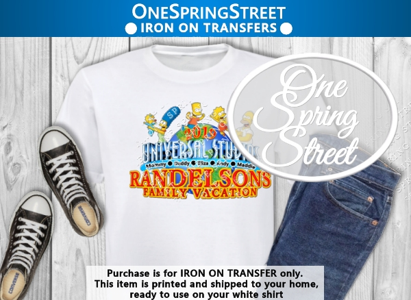 Universal Studios Simpsons Iron On Transfer-Universal Studios, Bart Simpson, T-shirt, Iron On, Transfer, Decal,Shipped, Ready to apply, Florida, Family Vacation, Matching Family, Group shirts, Family t-shirts, Simpson shirt