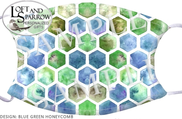 FACE MASK Blue Green Honeycomb