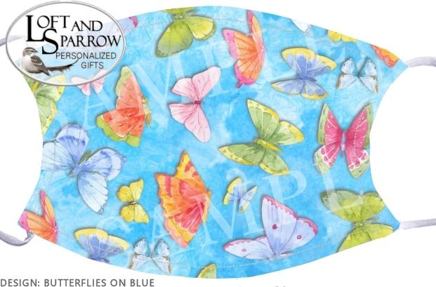 FACE MASK Butterflies On Blue