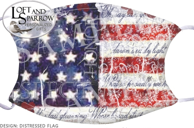 FACE MASK  American Flag Distressed