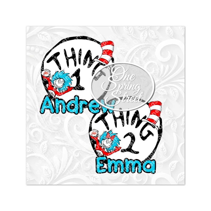 Thing 1 Thing 2 Any Number Printable Iron On Transfer Personalized