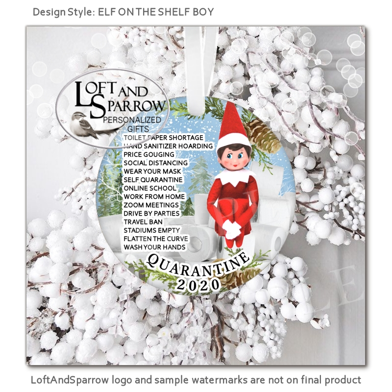 Elf On The Shelf Ornament BOY-Loft And Sparrow Snowman Wearing a Face Mask Ornament and Santa Wearing a Face Mask Christmas Ornament 2021 Quarantine Personalized Christmas Ornament custom personalized gifts, custom house portraits, pet portraits, watercolor portraits, Christmas ornaments, cruise banners, door banners, wreath add ons, key chains, magnets, pillows