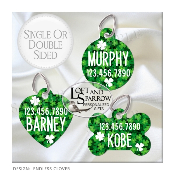 DOG ID Tags St Patty's Day Clover