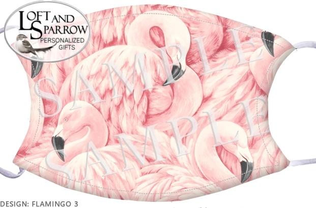 FACE MASK Pink Flamingos 3