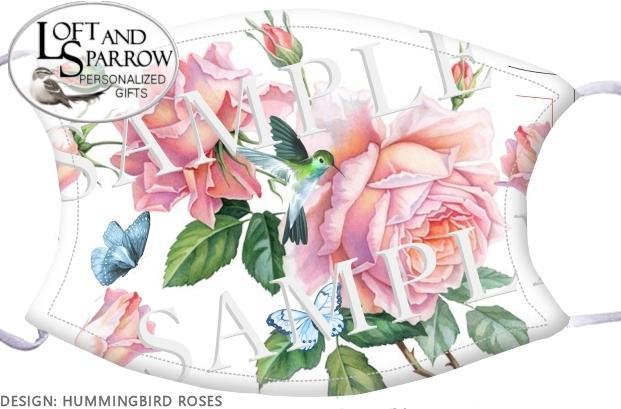 FACE MASK Hummingbird Roses