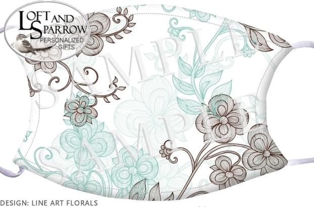 FACE MASK Line Art Florals