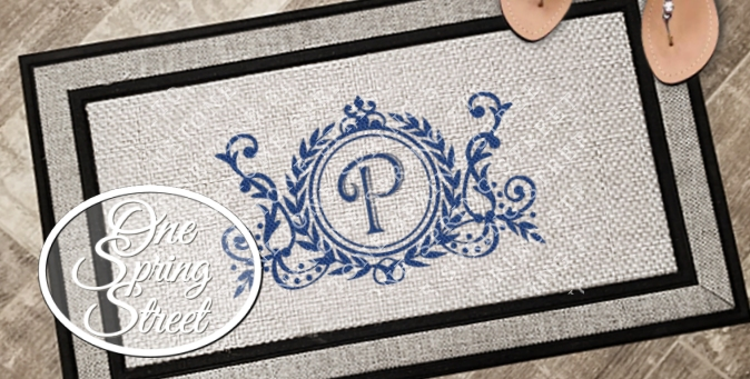 Doormat Monogrammed Design R204-Welcome Mat, Doormat, custom, Personalized, door mats, rugs, realtor gift, new home gift, wedding gift, front door, back door, kitchen mat, bathroom rug, playroom rug, mat, 