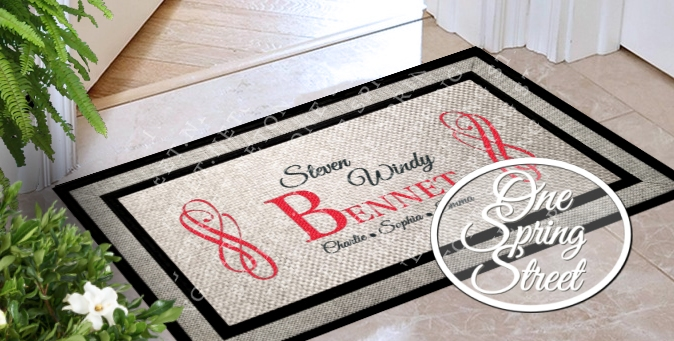 Doormat Family Names Personalized Welcome Mat R205
