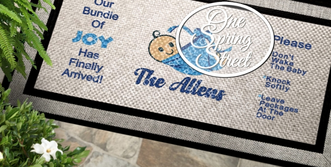 DoorMat New Baby Shower Welcome Mat R214-Custom New Baby welcome mat, newborn, shower gift, mother, father. New Arrival, Baby girl, Baby boy, Nursery, doormat, sign, Do not wake, the baby, please knock, door sign, Personalized, Door Mat, Door mat, Custom Door Mat, Personalized Welcome Mat, Wedding Gift, Personalized Doormat, Baby gift, Family,Welcome Mat, Doormat, Personalized door mats, rugs, custom, new baby gift, baby shower present, Christmas gift, diaper, stork, Sleeping baby, leave packages at the door. ring bell, shhh