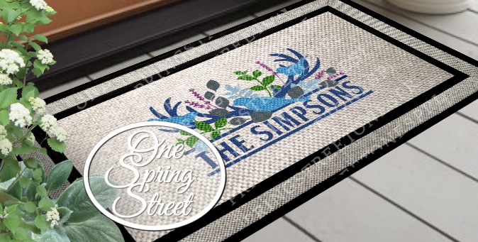 Doormat Antlers Birds Personalized Welcome Mat - R215BLUE