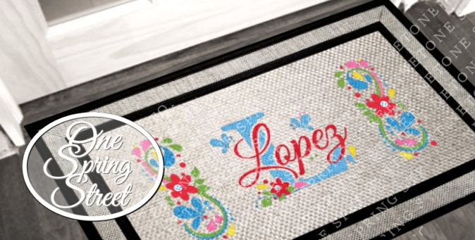 Doormat Personalized Modern Welcome Mat R220