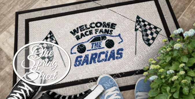Doormat NASCAR Racing Welcome Mat Personalized R224-Racing welcome mat, racing doormat, racing rug, Nascar sign, Nascar gift, race team, race fan, gift, Camping, hobby, sports fan, man cave, fathers day gift, husband gift, boyfriend gift, new home, wedding,