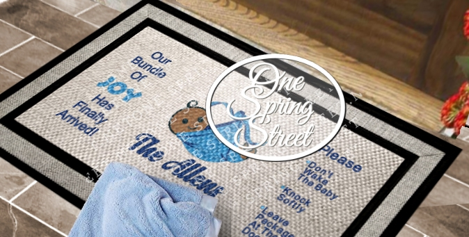 DoorMat New Baby Shower Welcome Mat R236-Custom New Baby welcome mat, newborn, shower gift, mother, father. New Arrival, Baby girl, Baby boy, Nursery, doormat, sign, Do not wake, the baby, please knock, door sign, Personalized, Door Mat, Door mat, Custom Door Mat, Personalized Welcome Mat, Wedding Gift, Personalized Doormat, Baby gift, Family,Welcome Mat, Doormat, Personalized door mats, rugs, custom, new baby gift, baby shower present, Christmas gift, diaper, stork, Sleeping baby, leave packages at the door. ring bell, shhh