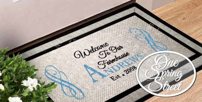 Doormat Family Names Personalized Welcome Mat R237