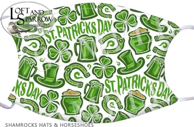 FACE MASK St Patrick's Day Shamrocks