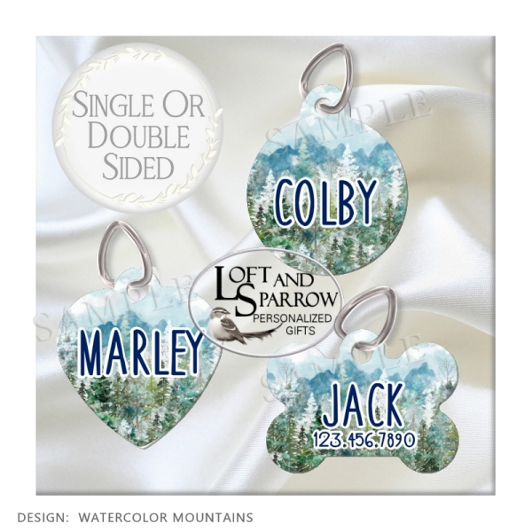 DOG ID Tags Watercolor Mountains