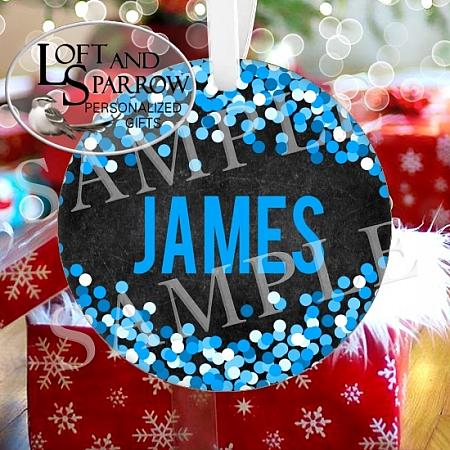 ORNAMENT CHALKBOARD CONFETTI BLUE-ORNAMENT CHALKBOARD CONFETTI BLUE Loft And Sparrow custom personalized gifts, custom house portraits, pet portraits, watercolor portraits, Christmas ornaments, cruise banners, door banners, wreath add ons, key chains, magnets, pillows  so much more Custom Snowman Wearing a Face Mask 2020 Quarantine Personalized Christmas Ornament Scandinavian Gnome