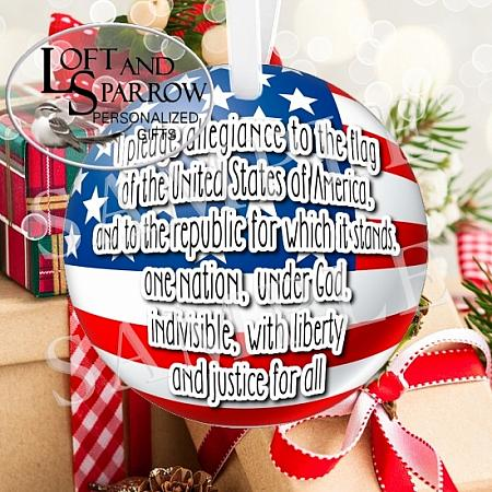 ORNAMENT FLAG PLEDGE-FLAG PLEDGE CHRISTMAS ORNAMENT