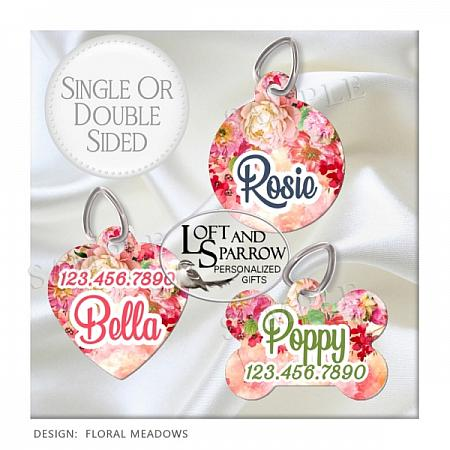 DOG ID Tags Pink Flowers-dog collar, dog ID tag, dog collar, dog scarf, cat bandana, pet scarf, pet store, pet collars, dog harness, pet supplies, dog boutique, dog fashion, juicy couture dog, luxury dog clothes, designer dog clothes dog chewy dog amazon