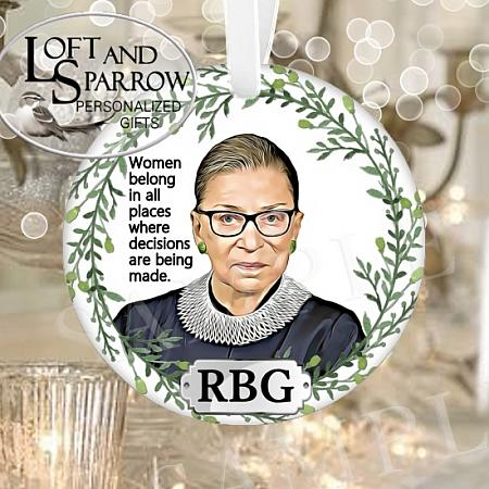 ORNAMENT RUTH BADER GINSBURG-RUTH BADER GINSBURG Ruth Bader Ginsberg RBG Quote Notorious RBG Merry Resistmas Ruth Quote Changeable Quote 2020 Ginsberg Christmas Ornament Judge Ginsberg