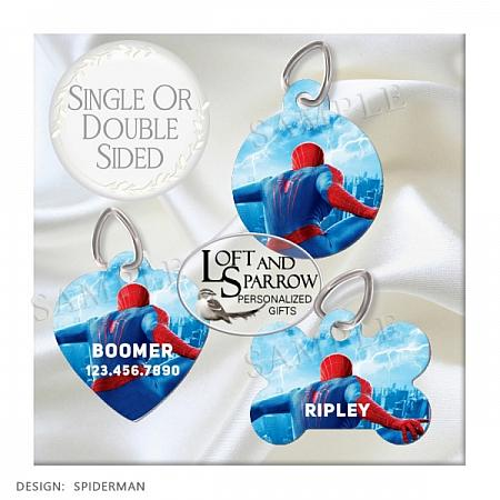 DOG ID Tags Spiderman-dog collar, dog ID tag, spiderman, dog collar, dog scarf, cat bandana, pet scarf, pet store, pet collars, dog harness, pet supplies, dog boutique, dog fashion, juicy couture dog, luxury dog clothes, designer dog clothes dog chewy dog amazon