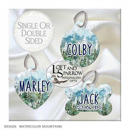 DOG ID Tags Watercolor Mountains-dog collar, dog ID tag, dog collar, Hiking, camping, pine trees, mountains, lake, fishing, hunting, watercolor, painting, personalized, custom, dog scarf, cat bandana, pet scarf, pet store, pet collars, dog harness, pet supplies, dog boutique, dog fashion, juicy couture dog, luxury dog clothes, designer dog clothes dog chewy dog amazon